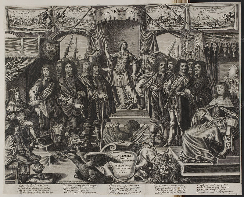 A group of noblemen with an allegorical f