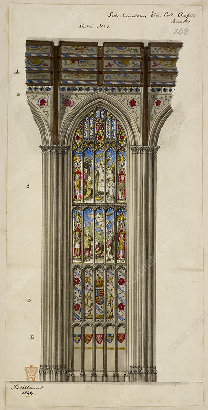 Illustration of church stained glass wind