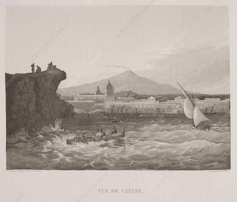 Illustrated view of Sicilian harbour