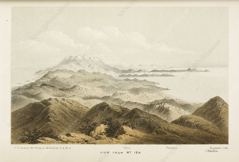 Illustration of a mountain range in Crete
