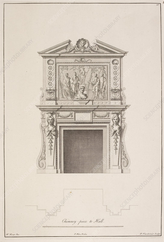 Drawing of chimney piece in Houghton hall