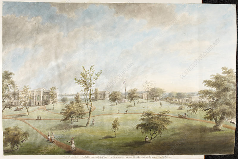 Watercolour of Barrackpore House and Park