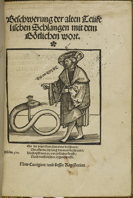 Woodcut of a man addressing a snake