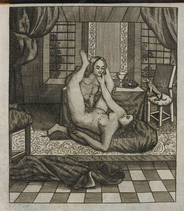Engraving of a man and woman having sex.