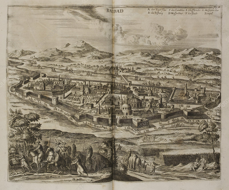 Illustration of Baghdad in the 17th centu
