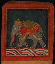 Painting of a caparisoned elephant
