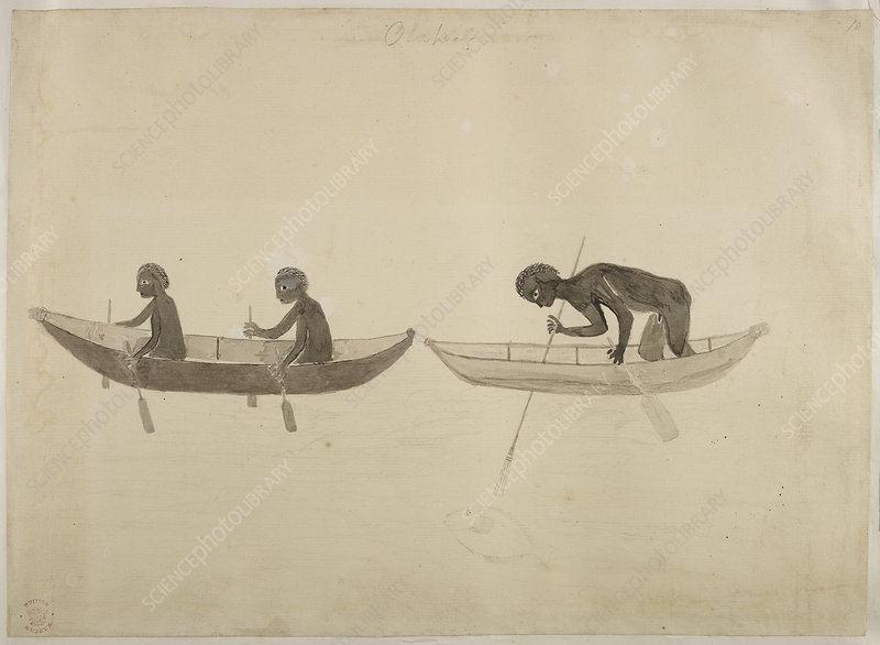Fisherman in small wooden canoes