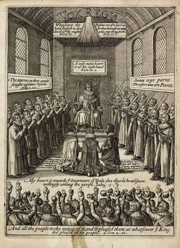 Engraving of a king enthroned