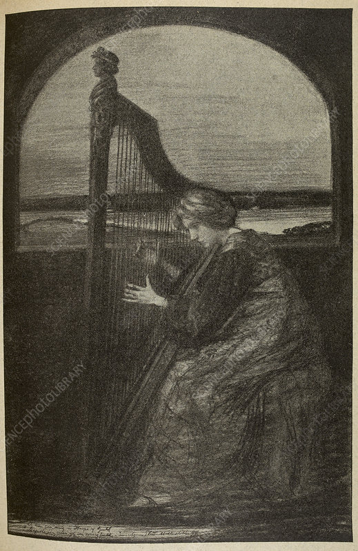 Drawing of a woman playing a harp
