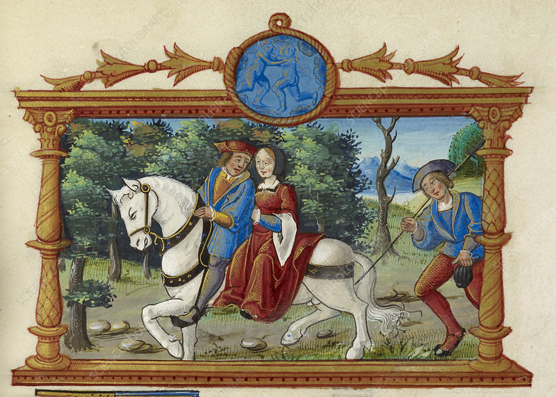 Man and woman riding horse