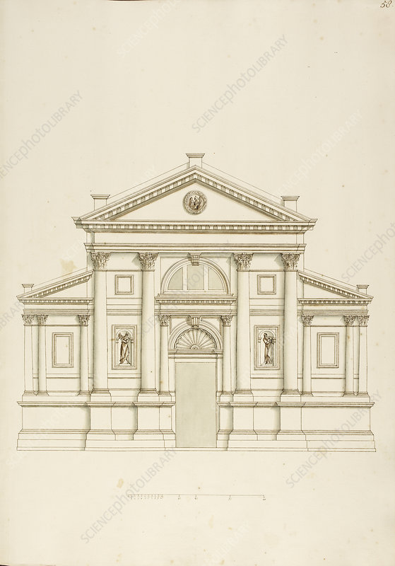 Drawing of elevation of Italian building