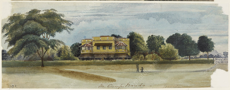 Large house and garden. In camp Baroda.'