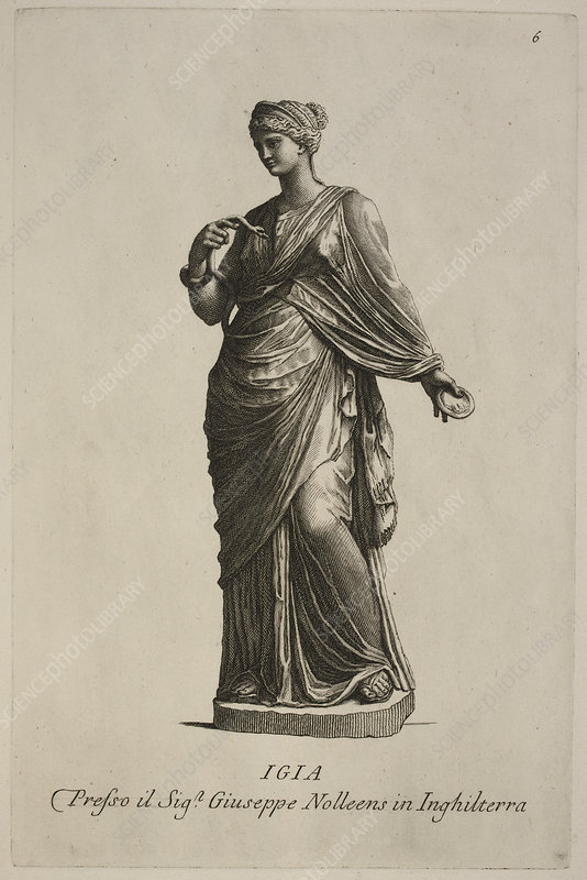 Statue of woman in classical robes, Igia