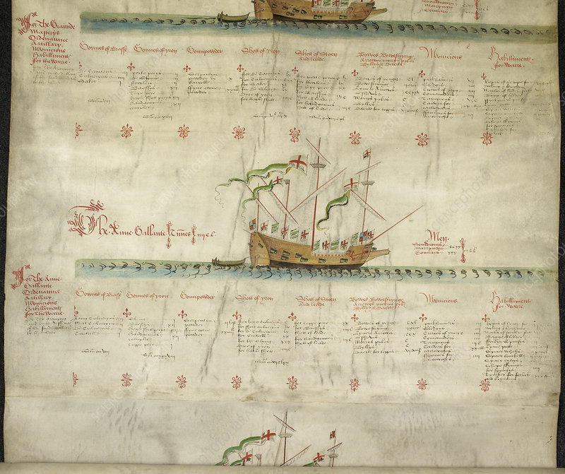 Ships in the king's navy fleet from 1547