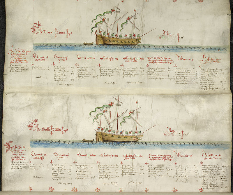 Ships in the king's navy fleet from 1550