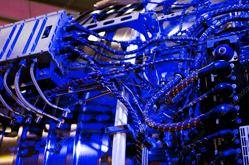 Aircraft engine wiring loom. - Stock Image C019/3214 ... on