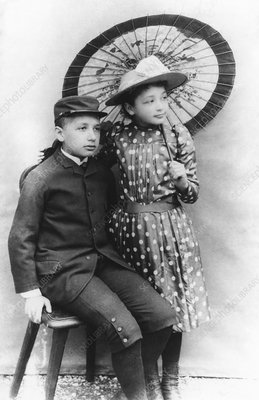 Einstein and his sister Maja, 1890s
