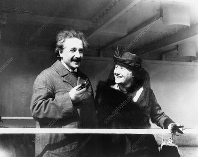 Einstein and his second wife Elsa, 1921