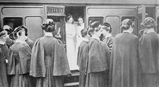 Nurses boarding a train, World War I