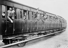 British troops on a train, World War I