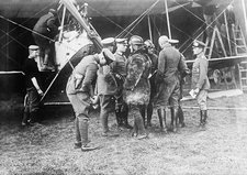 German aeroplane and officers, WWI