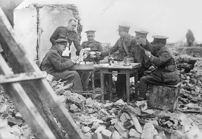 British officers at lunch, World War I