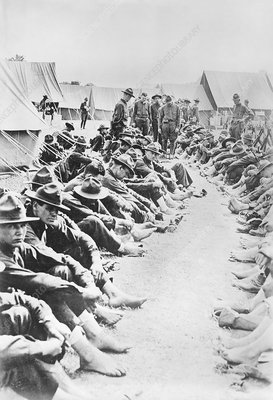Foot inspection, World War I trenches