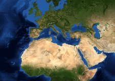 Europe, topographic and bathymetric map