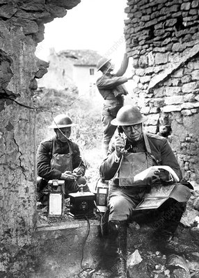 US soldiers with captured German phone