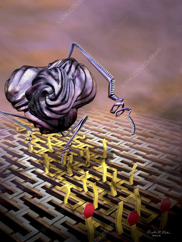 Nanobot modifying DNA, artwork