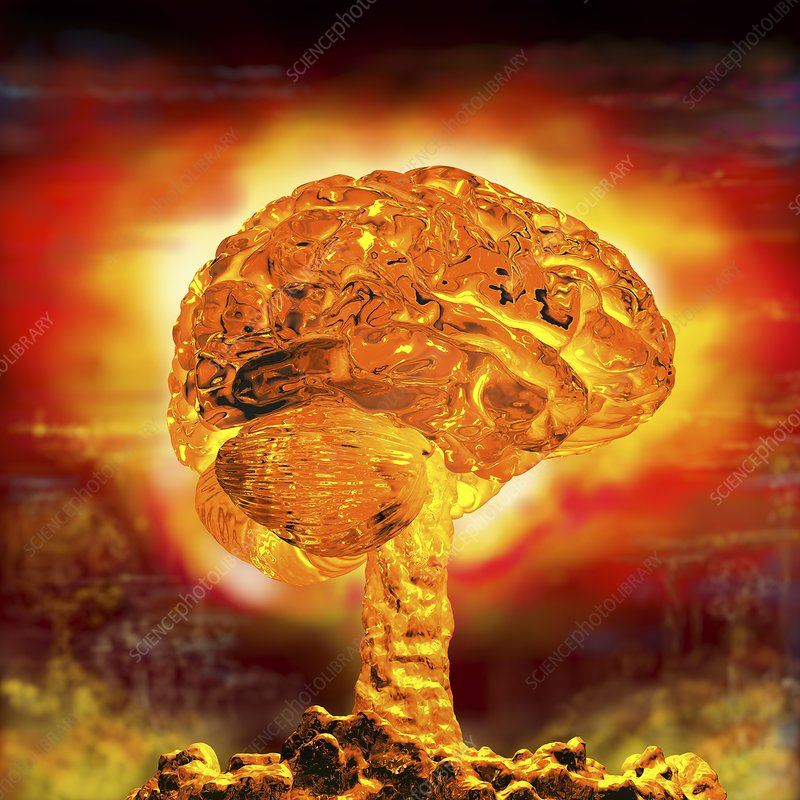 Brain as atomic bomb, conceptual image