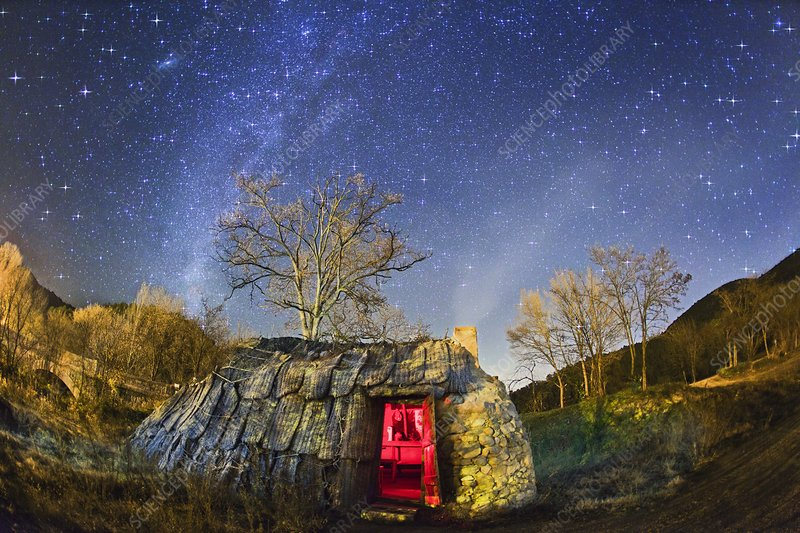 Night sky and coaling house