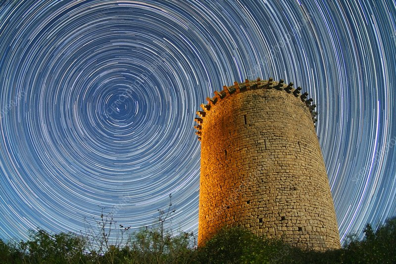 Polar star trails over tower