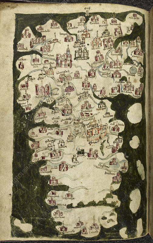 Map of England and Wales, c.1400