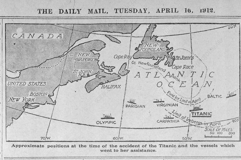 Titanic location map