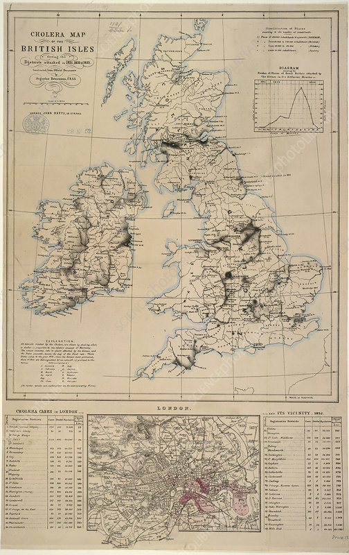 Cholera map of the British Isles