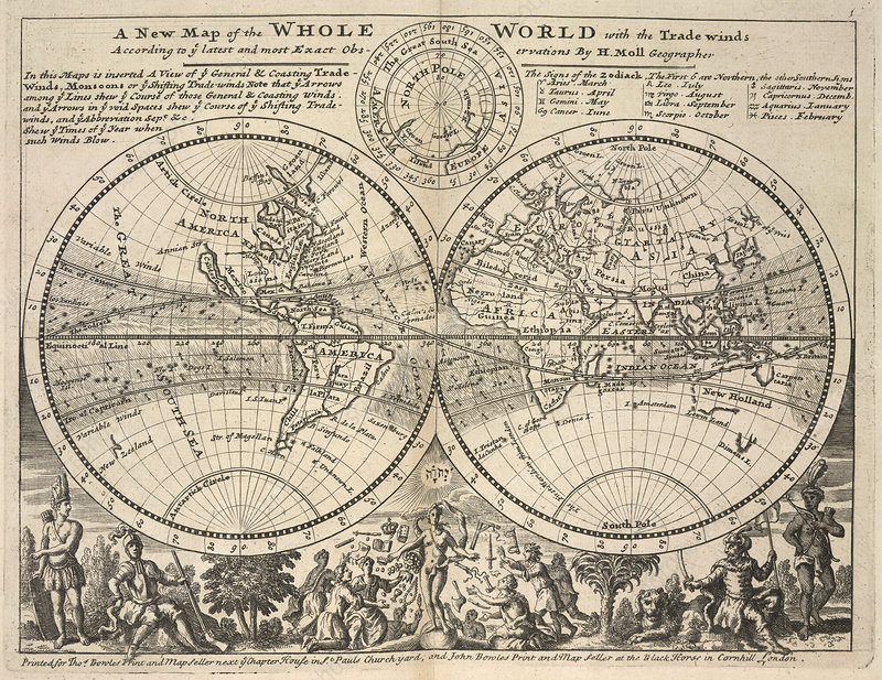 Twin-hemisphere world map