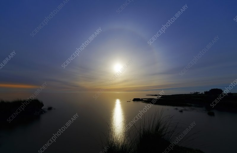 Lunar halo over water