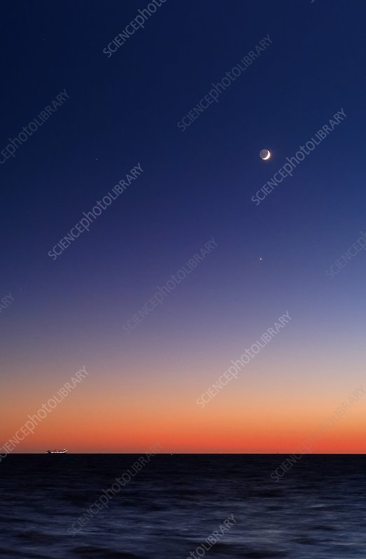 Moon and Venus at sunrise