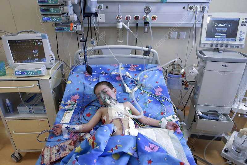 Recovering child heart surgery patient