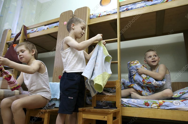 Young boys in a Russian orphanage