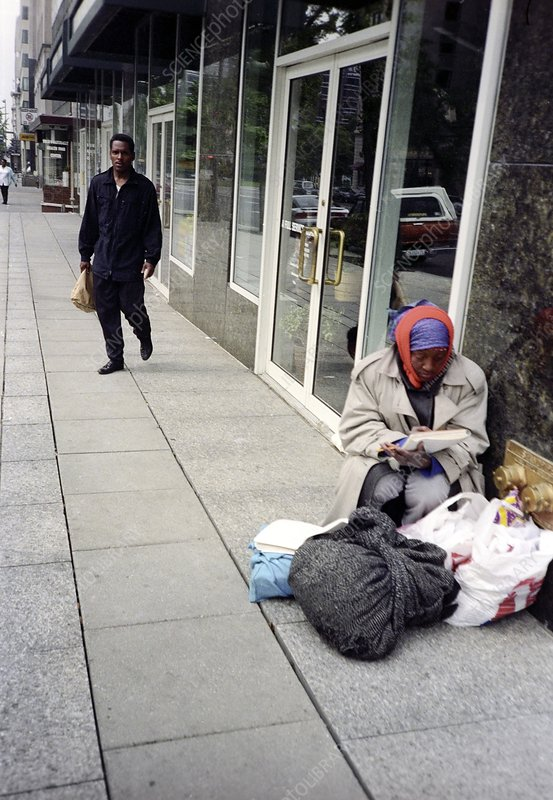 Homeless person on a street