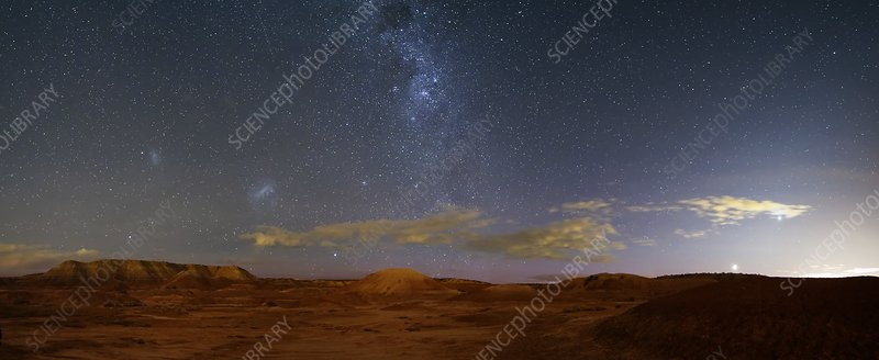 Milky Way over badlands