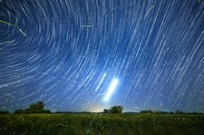 Polar star trails and fireflies
