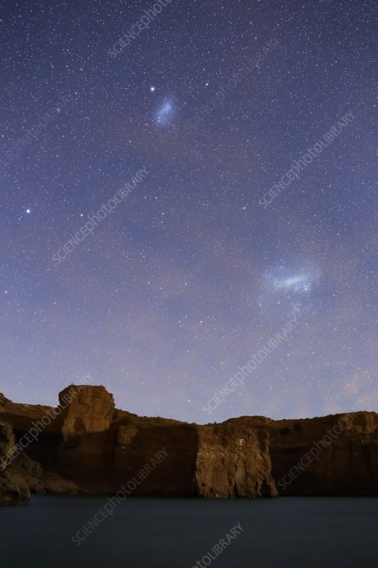 Magellanic Clouds over cliffs