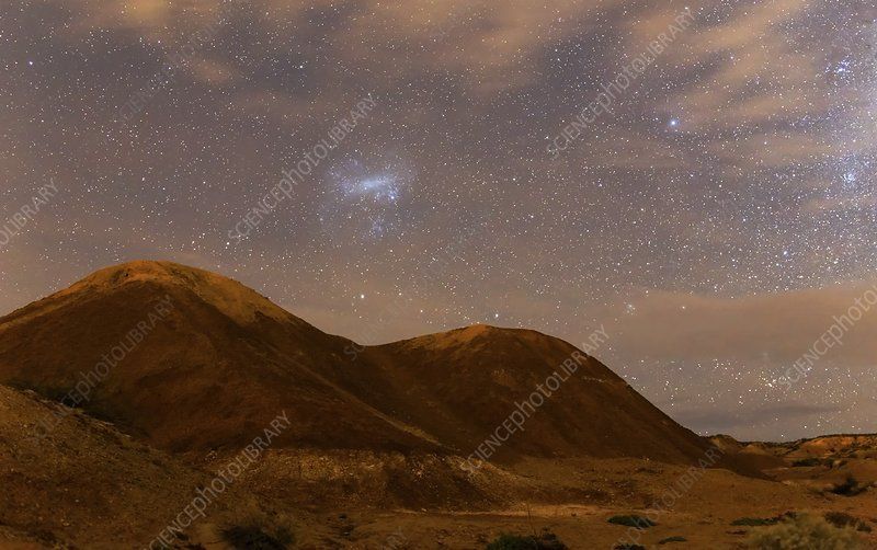 Large Magellanic Cloud over badlands