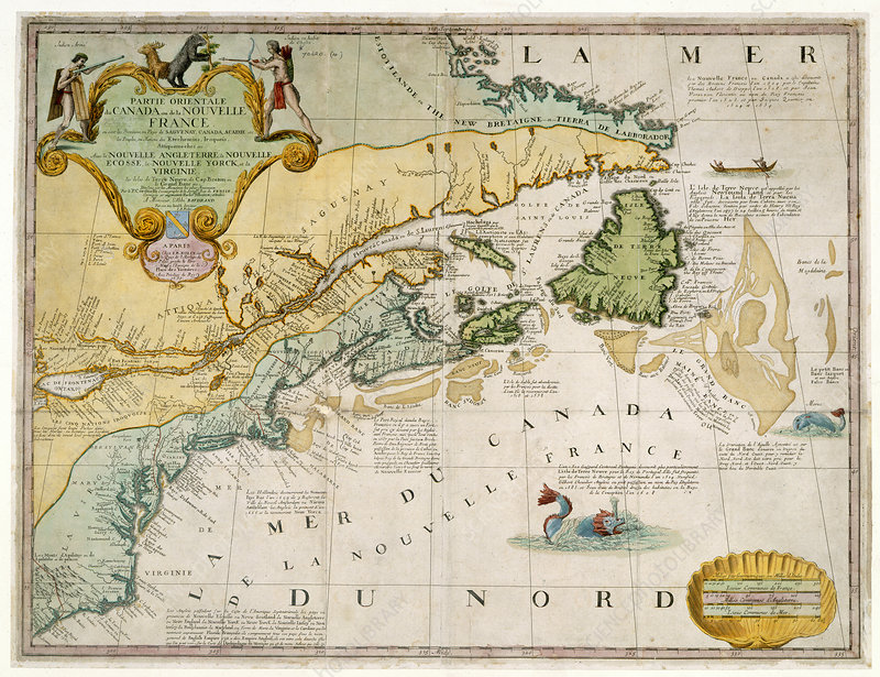 Map Of The East Coast Of Canada.Map Of East Coast Of Canada 1745 Stock Image C019 6690