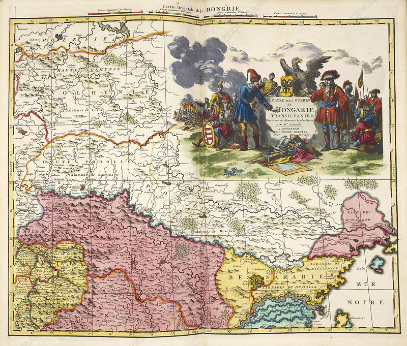 Map of Hungary, 1700