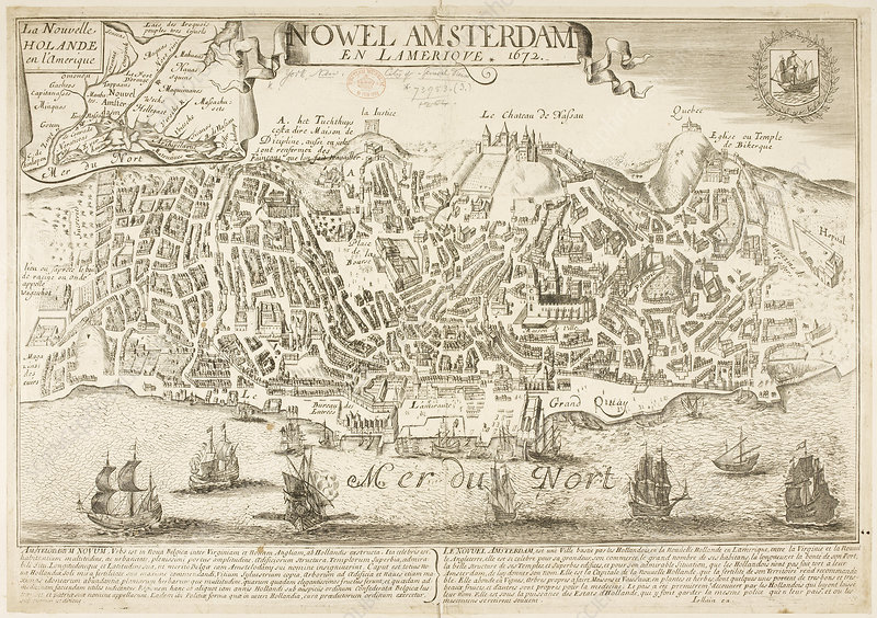 Map of New Amsterdam in 1672 and 1729