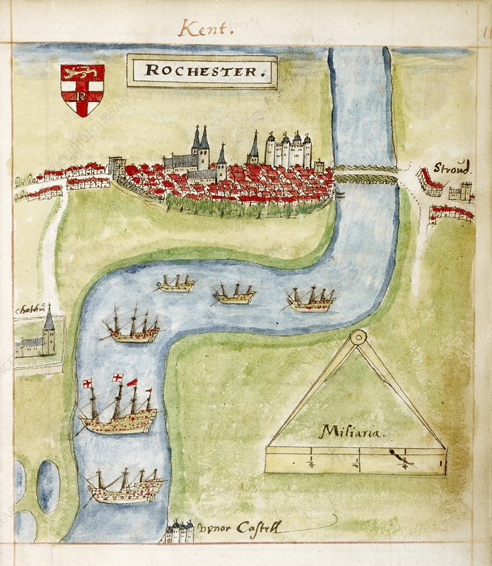 A coloured plan of Rochester, Kent